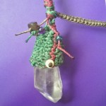 Commissioned Macrame Crystal Pendant, green on green
