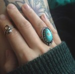 Coastal Karma Jewels - handcut old stock turquoise stone set in sterling silver, bohemian ring