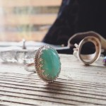 amazonite stone set in sterling silver, antique-inspired ring