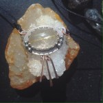 Refined Rustic Bohemian Pendant, rutilated quartz cabochon in sterling silver and rose gold fringe