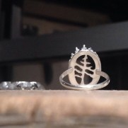 Commissioned sterling silver ring with custom tree design