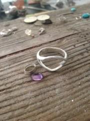 Faceted amethyst split ring, work in progress