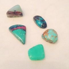Lapidary, hand cut & polished cabochon. Variety of finished stones: chrysoprase, turquoise, sonora sunrise, lemon chrysoprase