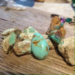Lapidary, hand cut & polished cabochon. Old stock turquoise - rough and polished