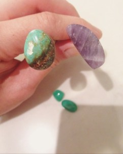 Lapidary, hand cut & polished cabochon. Old stock turquoise and chevron amethyst