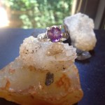 Faceted amethyst prong set ring