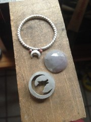 Work in Progress: Twilight Jewels Collection; Howling Wolf Crescent Moon, Faceted Sapphire
