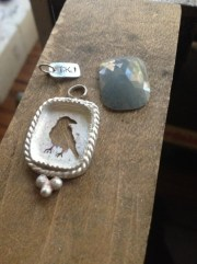 Work in Progress: Twilight Raven Pendant with Faceted Sapphire